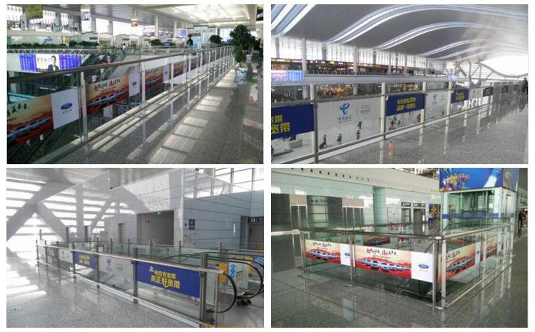 上海火车城铁站出发层玻璃贴广告